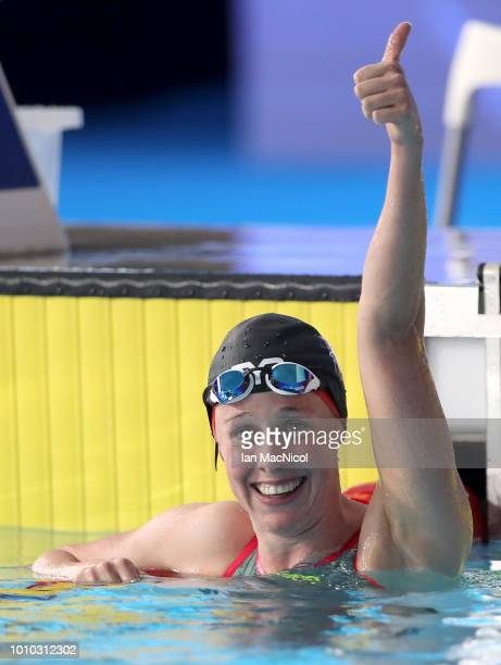 Hannah Miley of Great Britain reacts after winning the Bronze medal in the Women's 400m Individual Medley Final during the swimming on Day two of the...