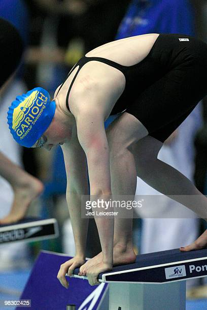 Hannah Miley stands on the starting blocks at the British Gas Swimming Championships event at Ponds Forge Pool on April 2 2010 in Sheffield England