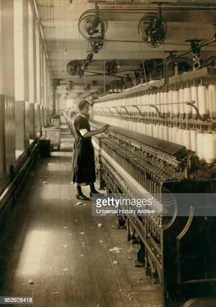 Hannah Mills 15 years old Young Spinner in Textile Mill King Philip Mills Fall River Massachusetts USA Lewis Hine for National Child Labor Committee...