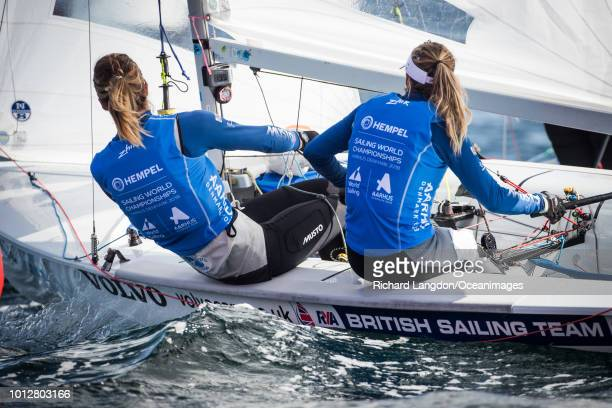 Hannah Mills and Eilidh McIntyre from the British Sailing Team sail at the 2018 ISAF Sailing World Championships on August 07 2018 in Aarhus Denmark