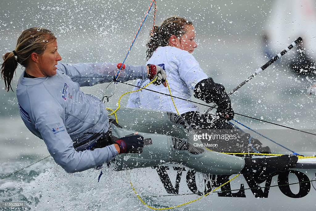 Hannah Mills and Saskia Clark in action during a Womens 470 class race on day two of the Skandia Sail For Gold Regatta at the Wemouth and Portland National Sailing Academy on June 7, 2011 in Weymouth, England.