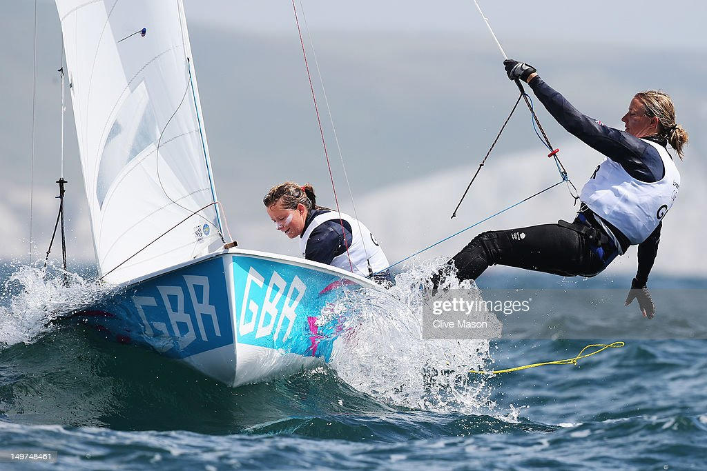 Hannah Mills (L) and Saskia Clark of Great Britain compete in the 470 Women's Class Sailing on Day 7 of the London 2012 Olympic Games at the Weymouth & Portland Venue at Weymouth Harbour on August 3, 2012 in Weymouth, England.