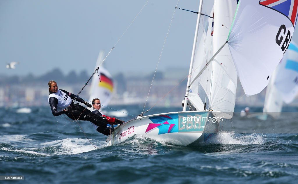 Hannah Mills (R) and Saskia Clark of Great Britain compete in the 470 Women's Class Sailing on Day 7 of the London 2012 Olympic Games at the Weymouth & Portland Venue at Weymouth Harbour on August 3, 2012 in Weymouth, England.