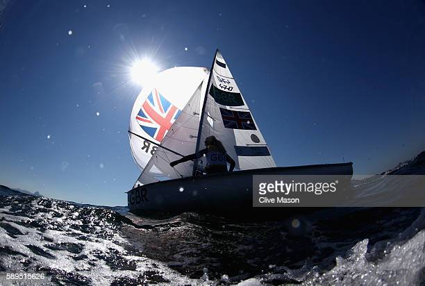 Hannah Mills and Saskia Clark of Great Britain in action before their 470 class race on Day 9 of the Rio 2016 Olympic Games at the Marina da Gloria...