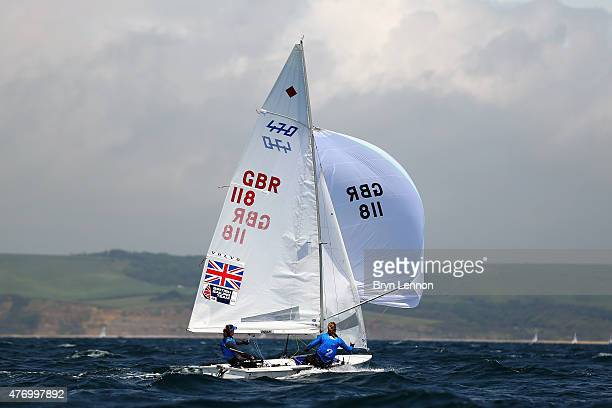 Hannah Mills and Saskia Clark of Great Britain in action the 470 Women's race during the ISAF Sailing World Cup on June 13 2015 in Weymouth England