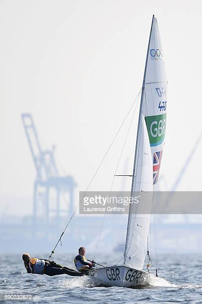 Hannah Mills of Great Britain and Saskia Clark of Great Britain compete in the Women's 470 class on Day 11 of the Rio 2016 Olympic Games at the...