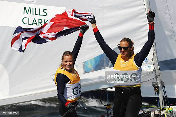 Hannah Mills of Great Britain and Saskia Clark of Great Britain compete in the Women's 470 class medal race at the Marina da Gloria on Day 13 of the...