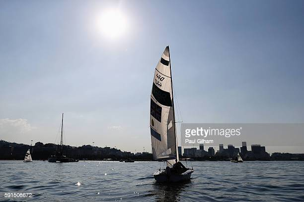 Hannah Mills of Great Britain and Saskia Clark of Great Britain sail in the light wind delaying the start of the Women's 470 class race on Day 12 of...