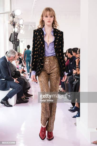 Hannah Motler walks the runway during the Chloe show as part of the Paris Fashion Week Womenswear Spring/Summer 2018 on September 28 2017 in Paris...