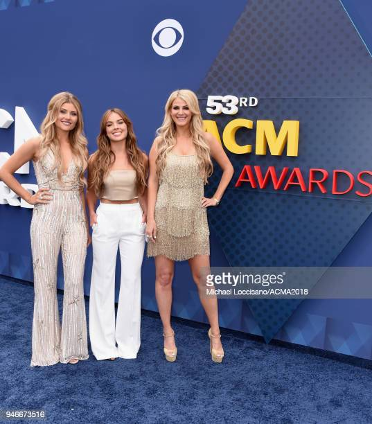 Hannah Mulholland Naomi Cooke and Jennifer Wayne attends the 53rd Academy of Country Music Awards at MGM Grand Garden Arena on April 15 2018 in Las...