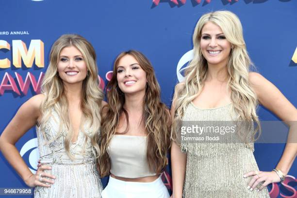 Hannah Mulholland Naomi Cooke and Jennifer Wayne of musical group Runaway June attend the 53rd Academy of Country Music Awards at MGM Grand Garden...