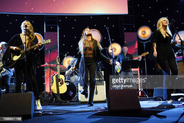 Hannah Mulholland Naomi Cooke and Jennifer Wayne of Runaway June perform at Country Music Hall of Fame and Museum on November 11 2018 in Nashville...