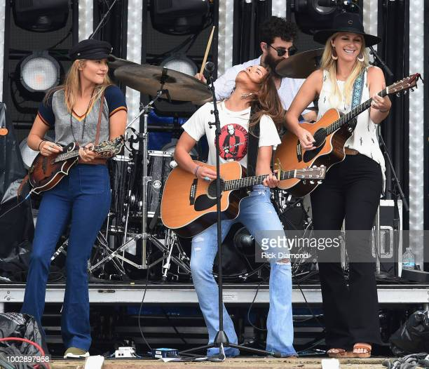 Hannah Mulholland Naomi Cooke and Jennifer Wayne of Runaway June perform during Country Thunder Day 2 on July 20 2018 in Twin Lakes Wisconsin