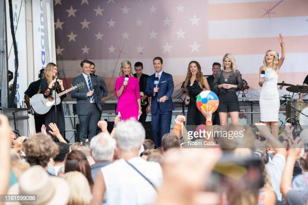 Hannah Mulholland Todd Piro Ainsley Earhardt Griff Jenkins Naomi Cooke Jennifer Wayne and Carley Shimkus attend FOX Friends AllAmerican Summer...