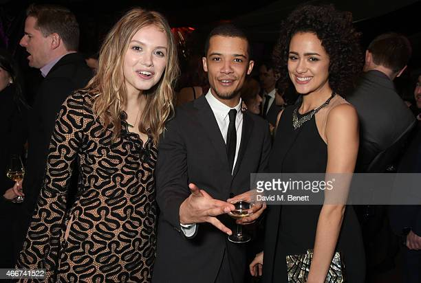 Hannah Murray Jacob Anderson and Nathalie Emmanuel attend the Game Of Thrones Season 5 UK Premiere After Party at the Tower of London on March 18...