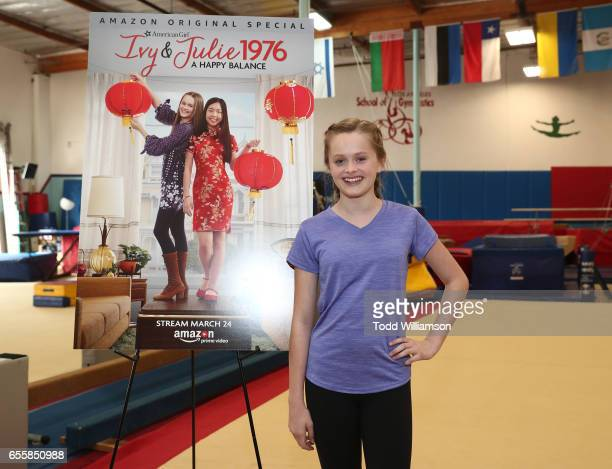 """Hannah Nordberg attends an Amazon Original Special """"An American Girl Story - Ivy & Julie 1976: A Happy Balance"""" Photo Call with Nina Lu, Hannah..."""