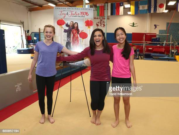 """Hannah Nordberg, Laurie Hernandez and Nina Lu attend an Amazon Original Special """"An American Girl Story - Ivy & Julie 1976: A Happy Balance"""" Photo..."""