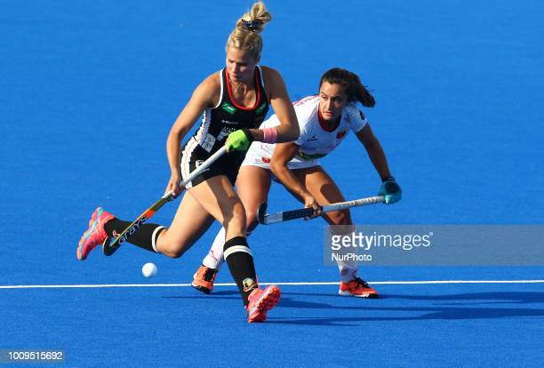 Hannah of Germany and RIERA Lola of Spain during FIH Hockey Women's World Cup 2018 Day 11 match Quarter Final game 29 between Germany and Spain at...