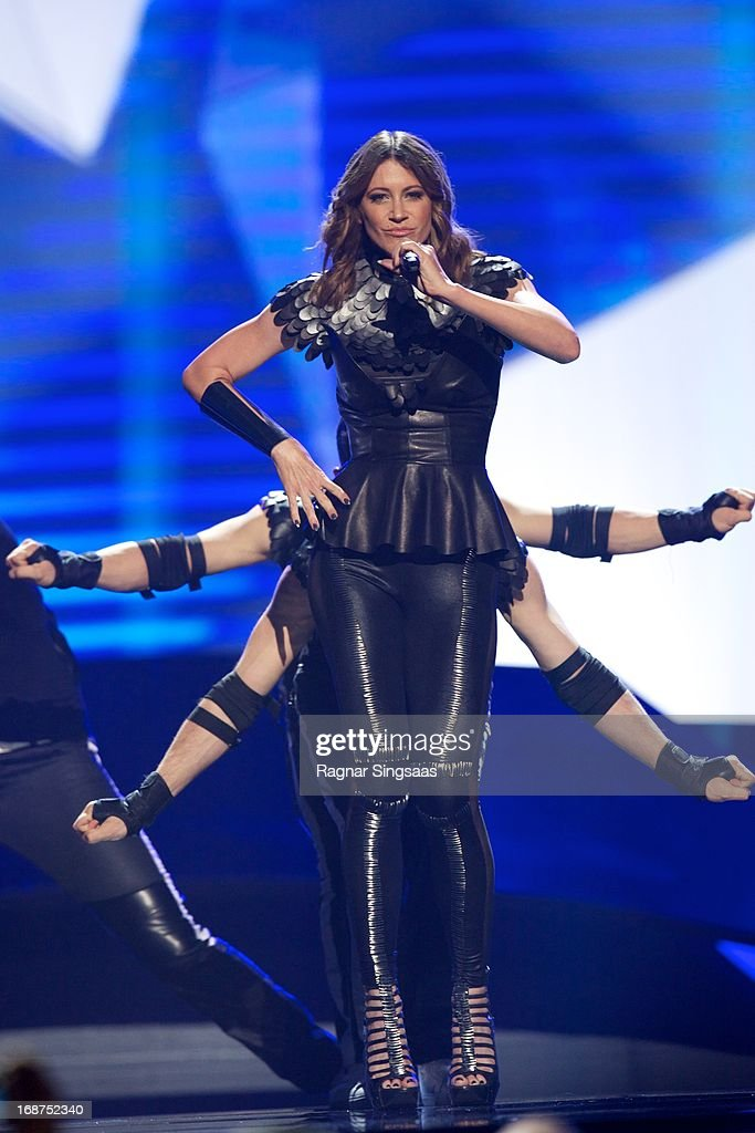 Hannah of Slovenia performs on stage during the first semi final of the Eurovision Song Contest 2013 at Malmo Arena on May 14, 2013 in Malmo, Sweden.