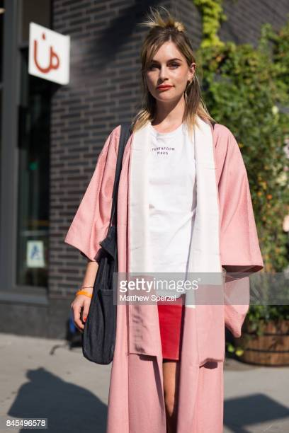 Hannah Ongley is seen attending Sandy Liang during New York Fashion Week wearing vintage on September 10 2017 in New York City