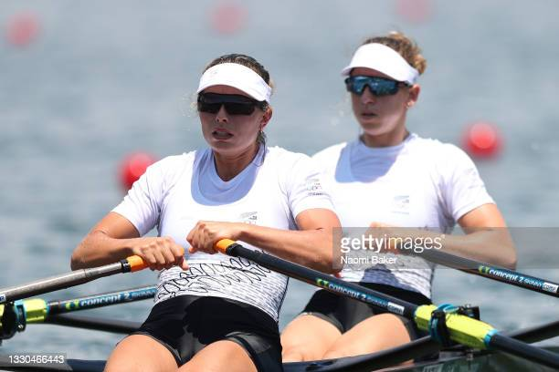 Hannah Osborne and Brooke Donoghue of Team New Zealand compete during the Women's Double Sculls Semifinal A/B 1 on day two of the Tokyo 2020 Olympic...