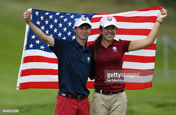 Hannah O'Sullivan and Austin Connelly of USA during the first round of the 2014 Junior Ryder Cup at Blairgowrie Golf Club on September 22 2014 in...