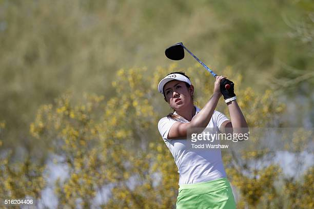 Hannah O'Sullivan tees off on the 7th green during the first round of the LPGA JTBC Founders Cup at Wildfire Golf Club on March 17 2016 in Phoenix...