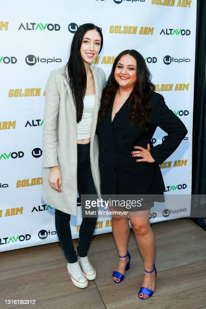 """Hannah Parrott and Maureen Bharoocha attends Utopia Films presents """"Golden Arm"""" premiere at Palm Sophia Rooftop on April 30, 2021 in Culver City,..."""