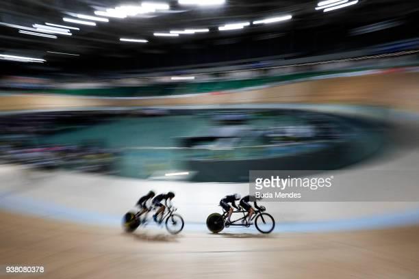 Hannah Pascoe and Nina Wollaston of New Zealand compete against Azila Syafinaz Mood Zais and Noraidillina J Sam of Malaysia in the Women's Sprint on...