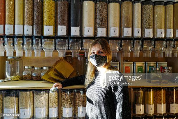 Hannah Pearce, founder of un_wrap, the zero-waste provisions store which remained open poses for a photo on January 5, 2021 in Falmouth, United...