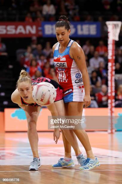 Hannah Petty of the Thunderbirds looks on during the round six Super Netball match between the Swifts and the Thunderbirds at Quay Centre on June 3...