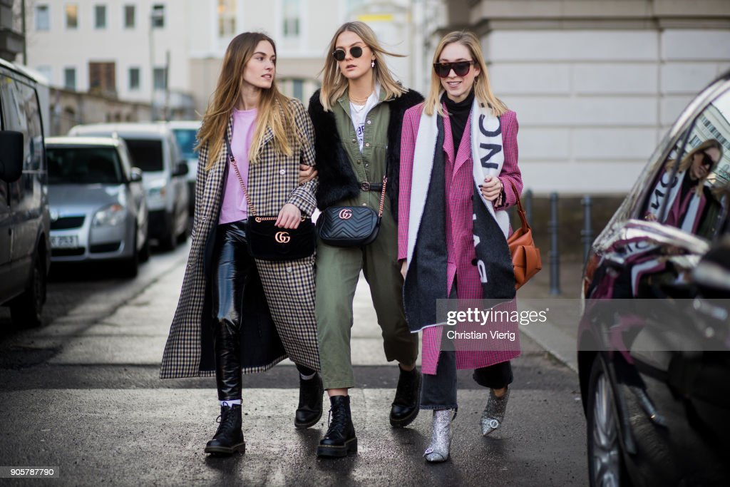 Hannah Pot d'Or, Alessa Winter and Sonia Lyson; is seen outside Der Berliner Modesalon during the Berlin Fashion Week January 2018 on January 16, 2018 in Berlin, Germany.