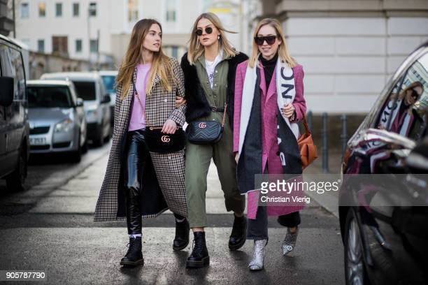 Hannah Pot d'Or, Alessa Winter and Sonia Lyson; is seen outside Der Berliner Modesalon during the Berlin Fashion Week January 2018 on January 16,...