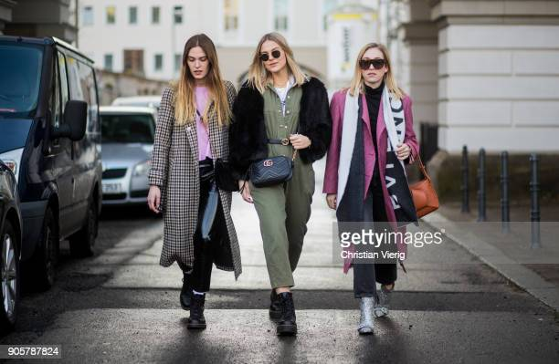 Hannah Pot d'Or Alessa Winter and Sonia Lyson is seen outside Der Berliner Modesalon during the Berlin Fashion Week January 2018 on January 16 2018...