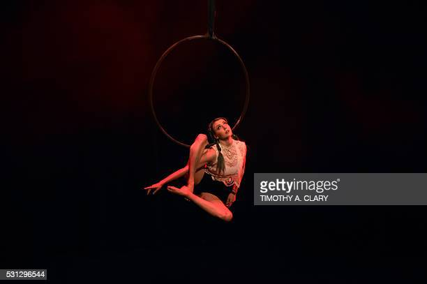 Hannah Price of Australia performs on the Women's Lyra during the 2nd Annual US Aerial Championships May 13 2016 at the Baruch Performing Arts Center...