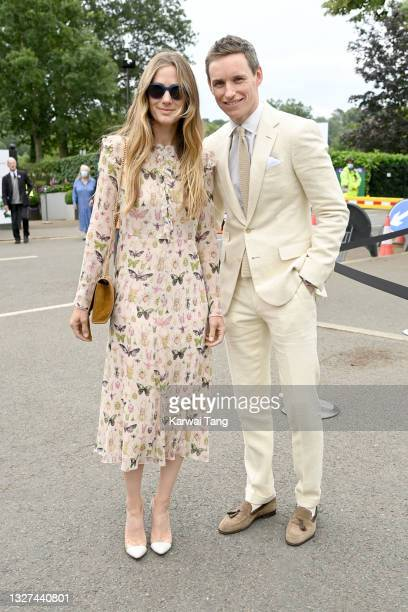 Hannah Redmayne and Eddie Redmayne attend Wimbledon Championships Tennis Tournament at All England Lawn Tennis and Croquet Club on July 07, 2021 in...