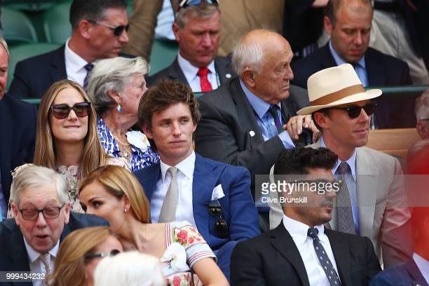 Hannah Redmayne Eddie Redmayne and Benedict Cumberbatch attend the Men's Singles final on day thirteen of the Wimbledon Lawn Tennis Championships at...