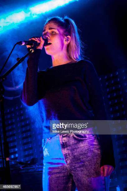 Hannah Reid of London Grammar performs on stage at Cardiff University on January 28 2014 in Cardiff United Kingdom