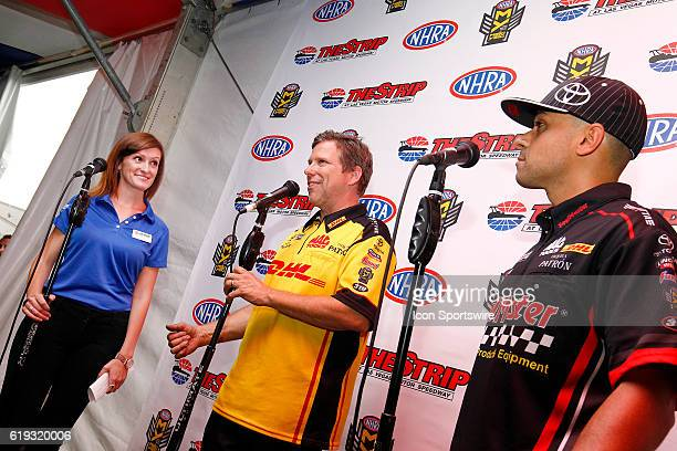Hannah Rickards interviews Del Worsham and JR Todd in the Club Nitro hospitality tent during the NHRA Toyota Nationals on October 28 at The Strip at...