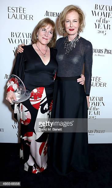 Hannah Rothschild and Julia PeytonJones attend the Harper's Bazaar Women of the Year Awards 2015 at Claridges Hotel on November 3 2015 in London...