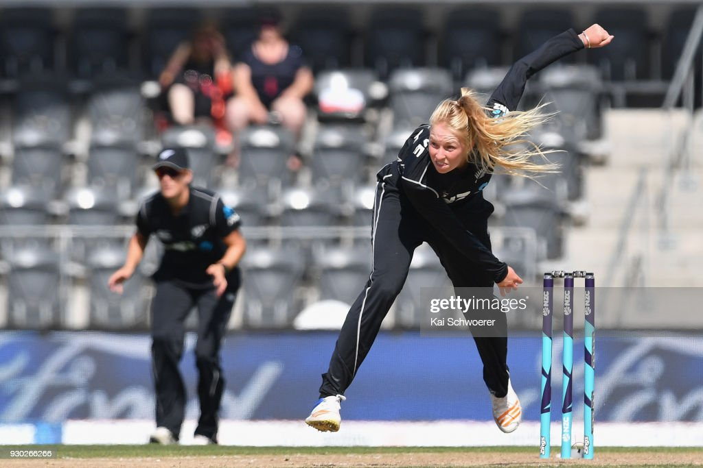 Hannah Rowe of New Zealand bowls during the Women's One Day International match between New Zealand and the West Indies on March 11, 2018 in Christchurch, New Zealand.