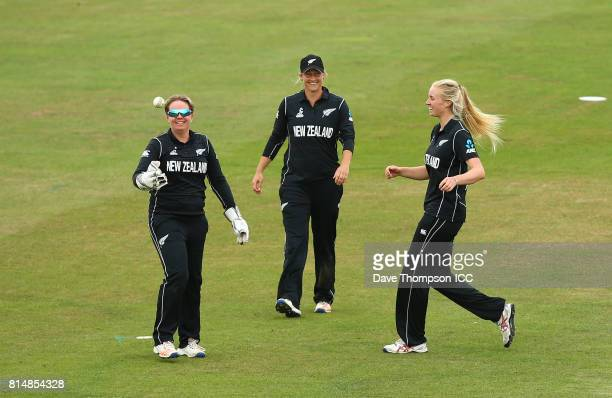 Hannah Rowe of New Zealand celebrates with Rachel Priest of New Zealand after she took the catch to dismiss Deepti Sharma of India during the ICC...
