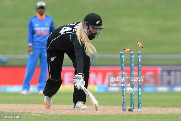 Hannah Rowe of New Zealand makes her ground during game one of the One Day International Series between New Zealand White Ferns and India at McLean...