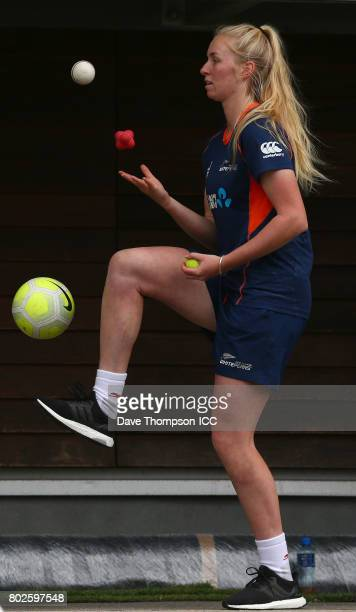 Hannah Rowe of New Zealand practices her juggling skills following the ICC Women's World Cup match between South Africa and New Zealand which was...