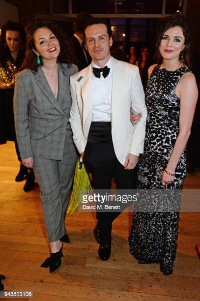 Hannah Scott Andrew Scott and Aisling Bea attend The Olivier Awards with Mastercard after party at the Natural History Museum on April 8 2018 in...