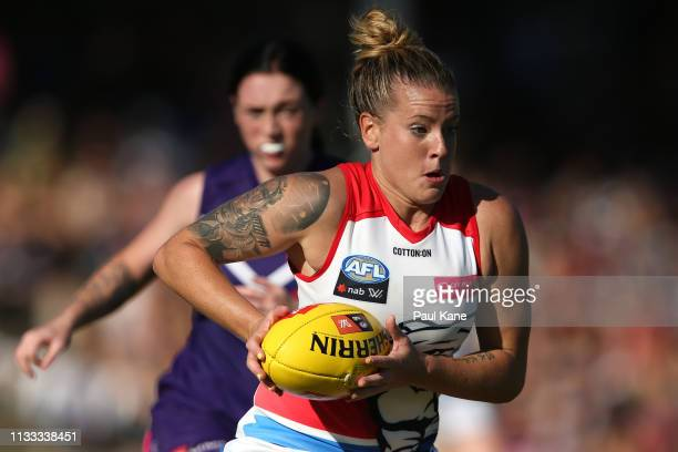 Hannah Scott of the Bulldogs runs with the ball during the round five AFLW match between the Fremantle Dockers and the Western Bulldogs at Fremantle...