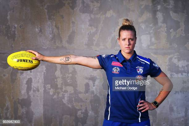 Hannah Scott poses during a Western Bulldogs AFLW media opportunity at Victoria University Whitten Oval on March 19 2018 ahead of this weekend's AFLW...