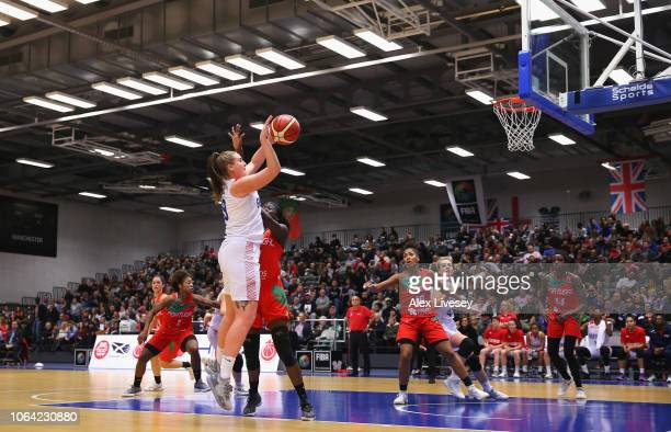 Hannah Shaw of Great Britain attempts a basket during the FIBA Women's Eurobasket Group D qualifying match between Great Britain and Portugal at the...