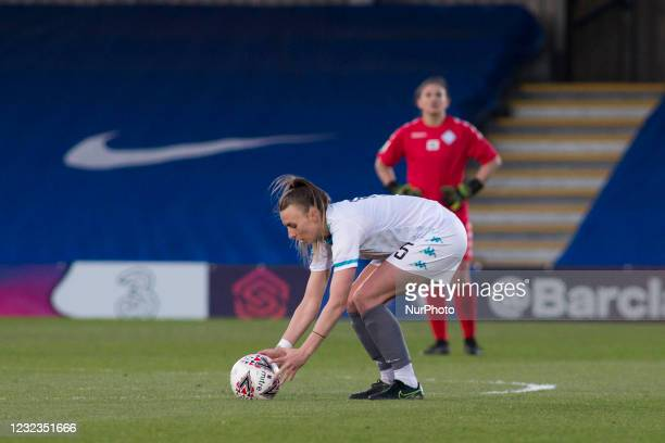 Hannah Short controls the ball during the 2020-21 FA Womens Cup fixture between Chelsea FC and London City at Kingsmeadow on April 16, 2021 in...