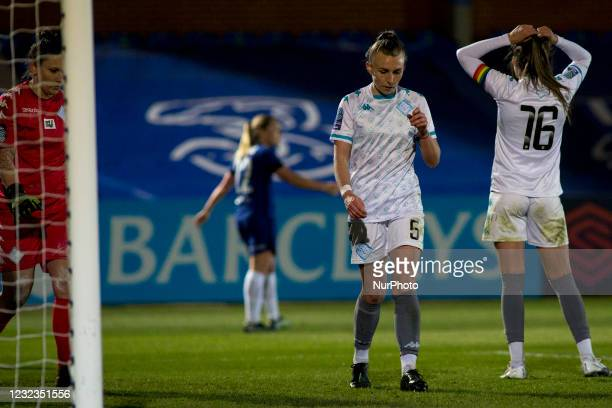 Hannah Short gestures during the 2020-21 FA Womens Cup fixture between Chelsea FC and London City at Kingsmeadow on April 16, 2021 in Kingston upon...